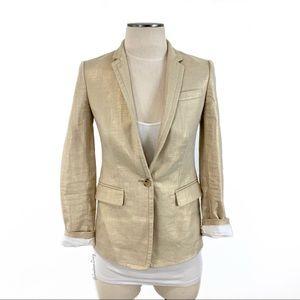 J. Crew- Metallic Gold Linen Blazer Size 00